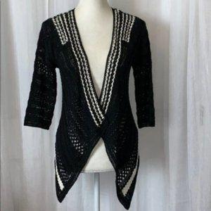 Karen Millen Knit Crochet Asymmetrical Open Front Cardigan